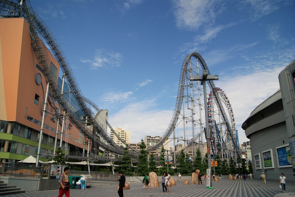 Roller coaster ride in a theme park next to tokyo dome