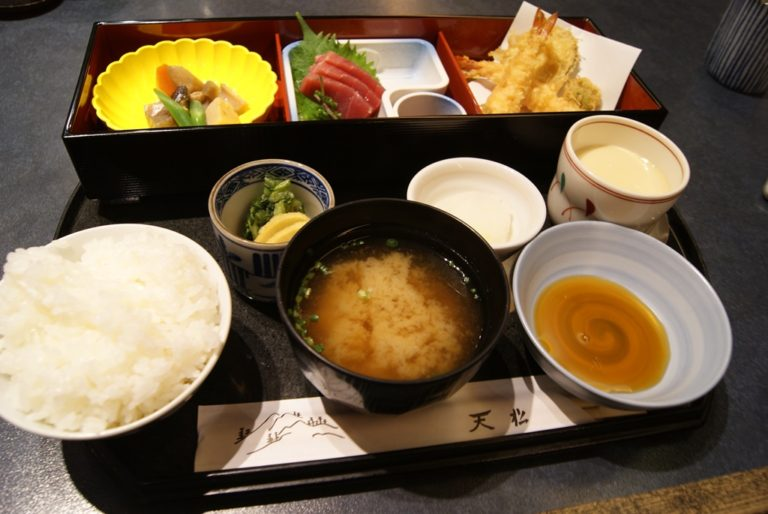 Kaiseki set with tempura and sashimi for lunch