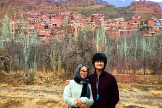 abyaneh, Kashan, iran travel, mum and son