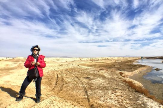 varzaneh, dry, desert, cloud, lady