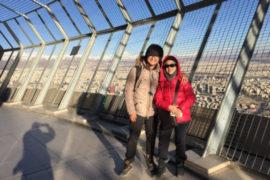 milad tower, mum and son, windy, cold