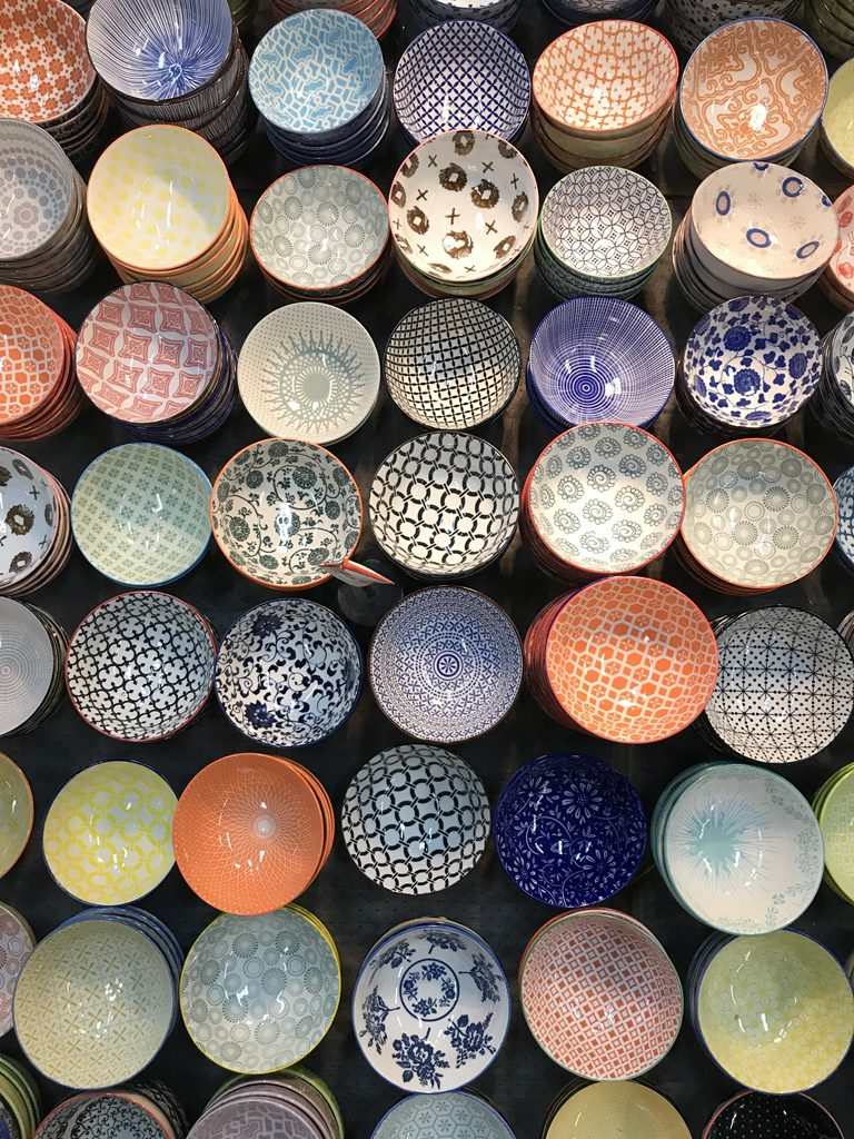 bowls, south melbourne market, colourful, china