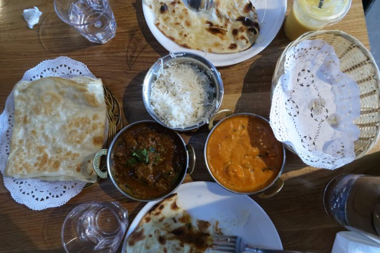 An obliged view of the food.