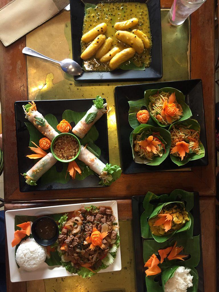 cooking class, siem reap, cambodia, spring roll, amok, banana