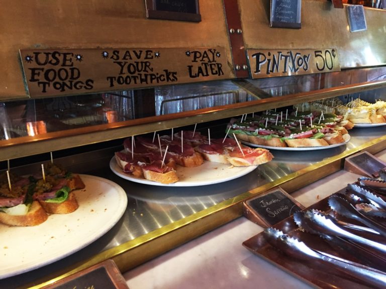 50 cents pinchos! You can just get one of each without breaking the bank!