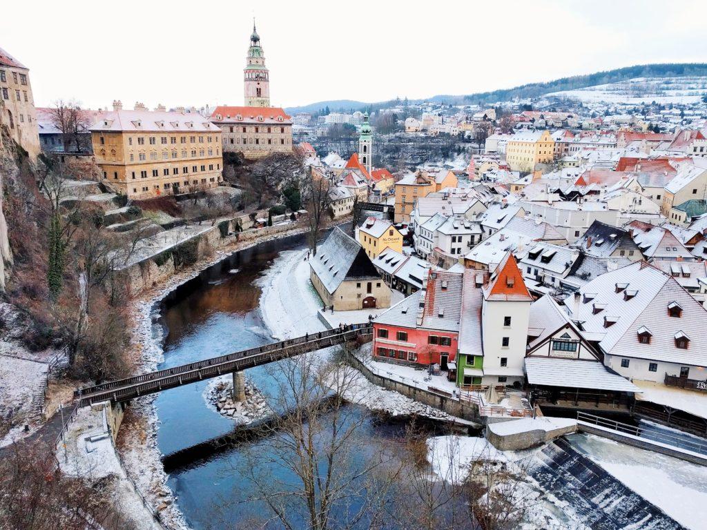 cesky krumlov, czech republic, moravia, winter, castle tower