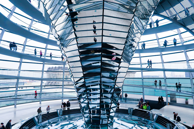 Mirrors at Reichstag building in Berlin in Winter