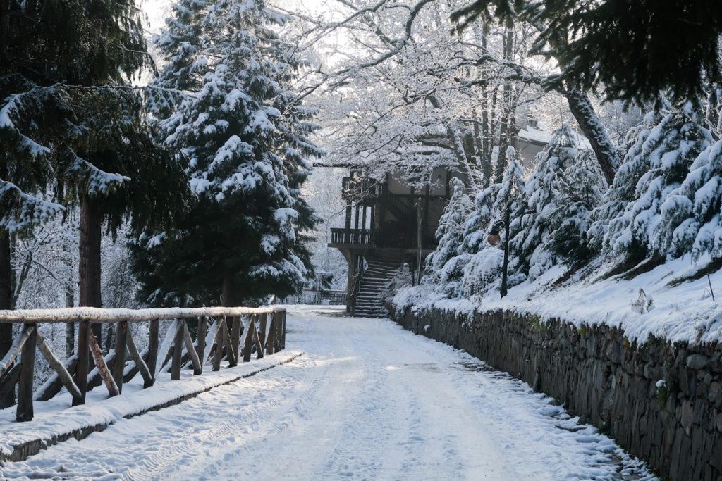 road at rila monastery from sofia snow