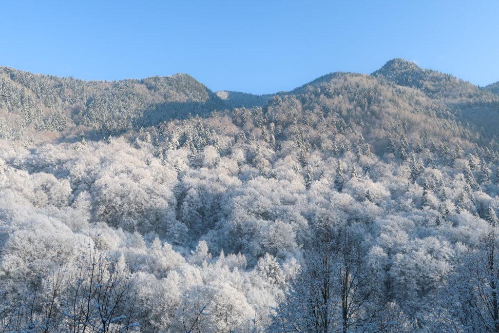 snowy mountains at rila monastery