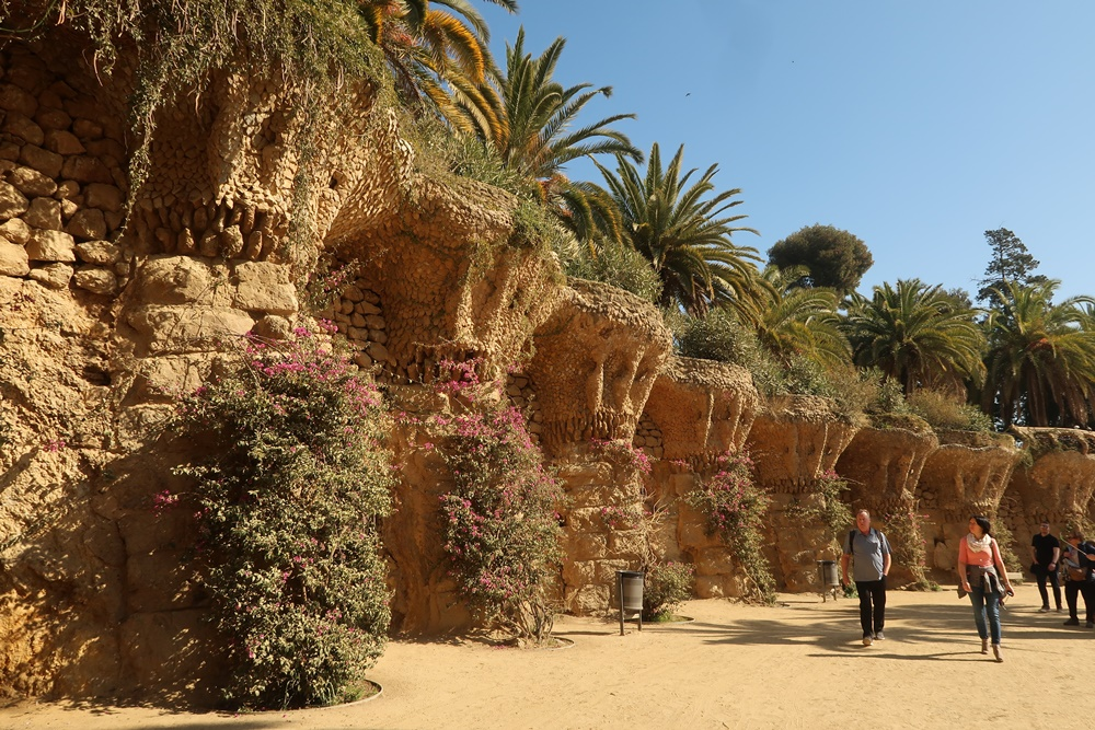 Beautiful garden at Parc Guell on a sunny day