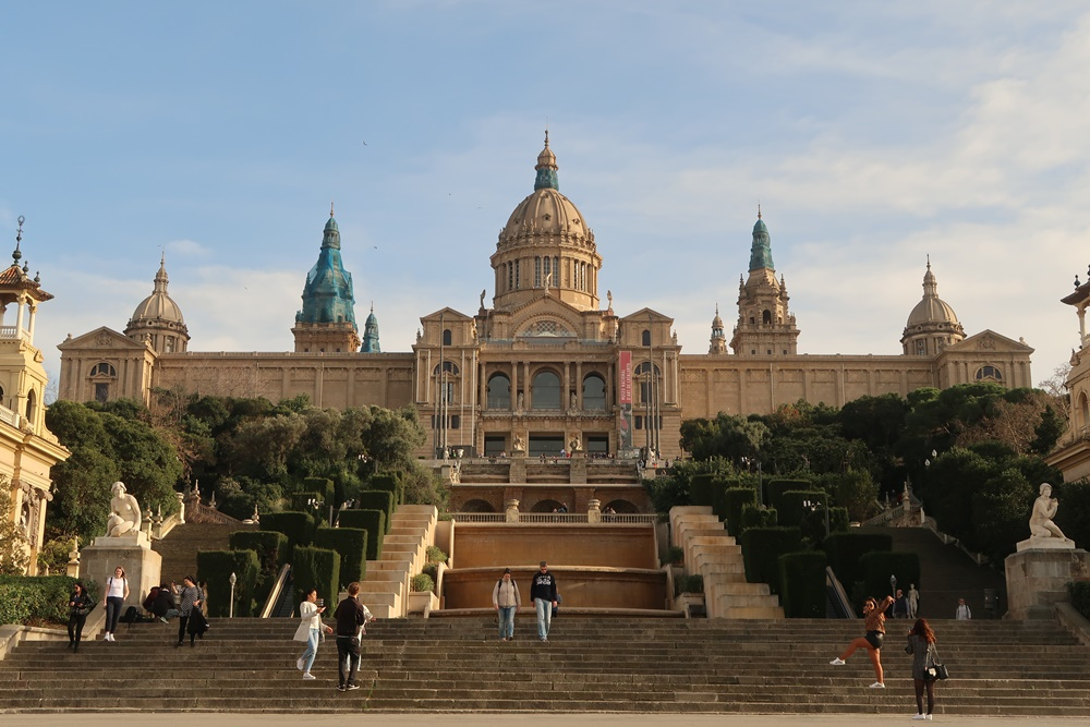 National palace at Montjuic, Barcelona at sunset