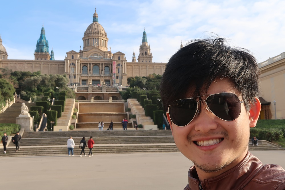 Selfie at National Palace at Montjuic, Barcelona.