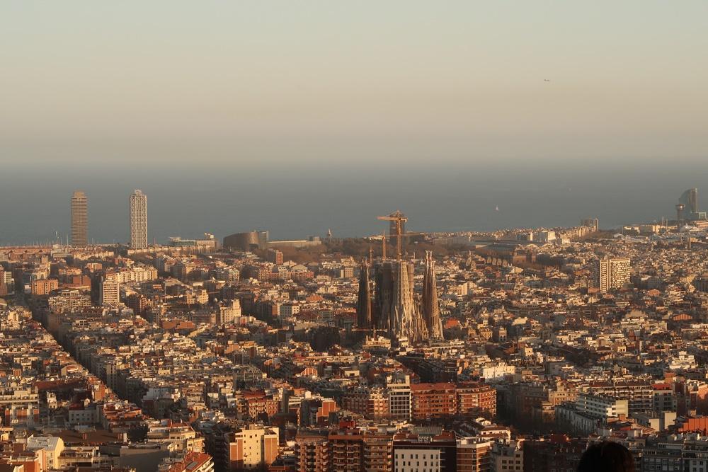 Sunset view from Bunker Del Carmel in Barcelona