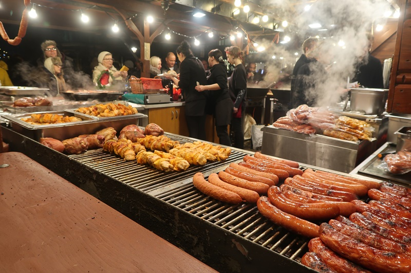 polish sausages at the christmas market at krakow