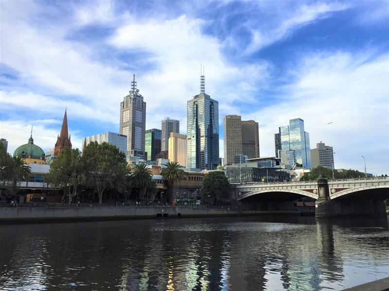 Melbourne city scape under a blue sky