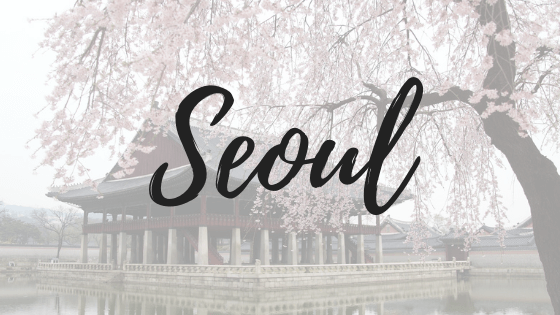 Seoul temple with cherry blossom