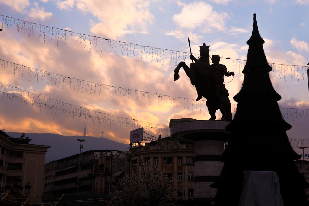 warrior on the horse in the shadow skopje macedonia alexander the great