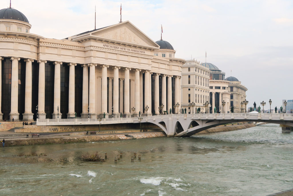 archeological museum of macedonia with bridge and river in skopje