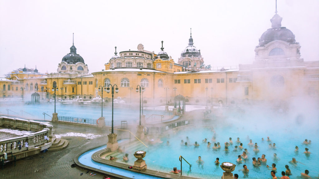 szechenyi turkish outdoor thermal bath budapest hungary