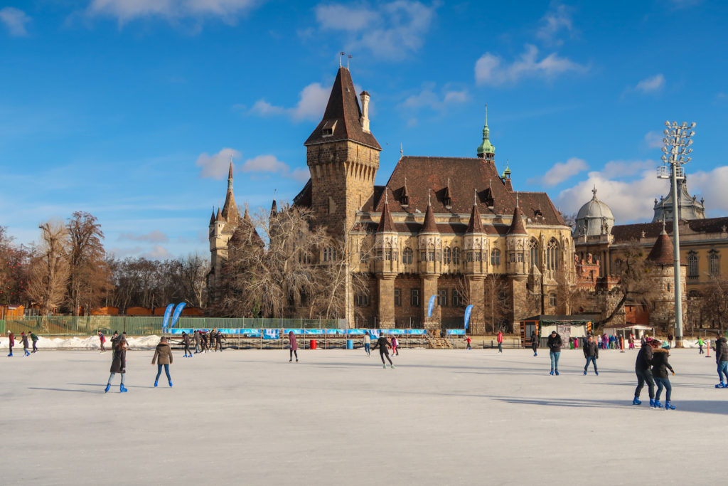 City park budapest open rink ice skating