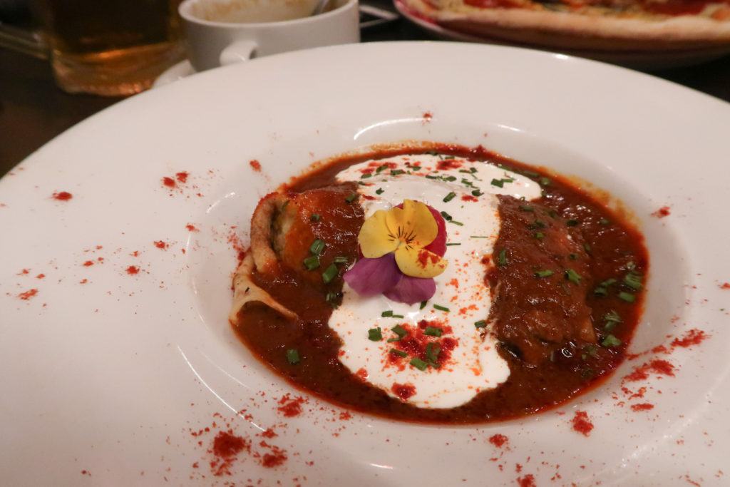 Beef goulash wrapped in crepe drum cafe budapest