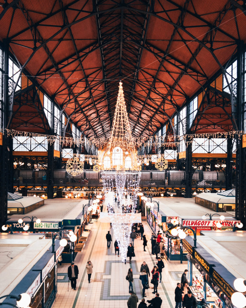 christmas tree in central market hall budapest
