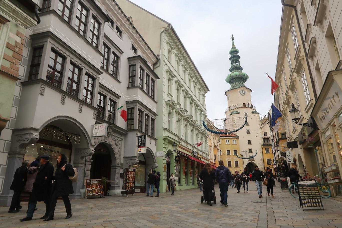 bratislave street scene with church what to eat in Bratislava