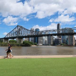 Story bridge Brisbane itinerarygrass howard smith wharves pedestrians Brisbane Australia
