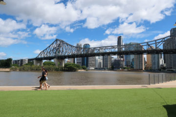 Story bridge Brisbane itinerarygrass howard smith wharves pedestrians Brisbane Australia