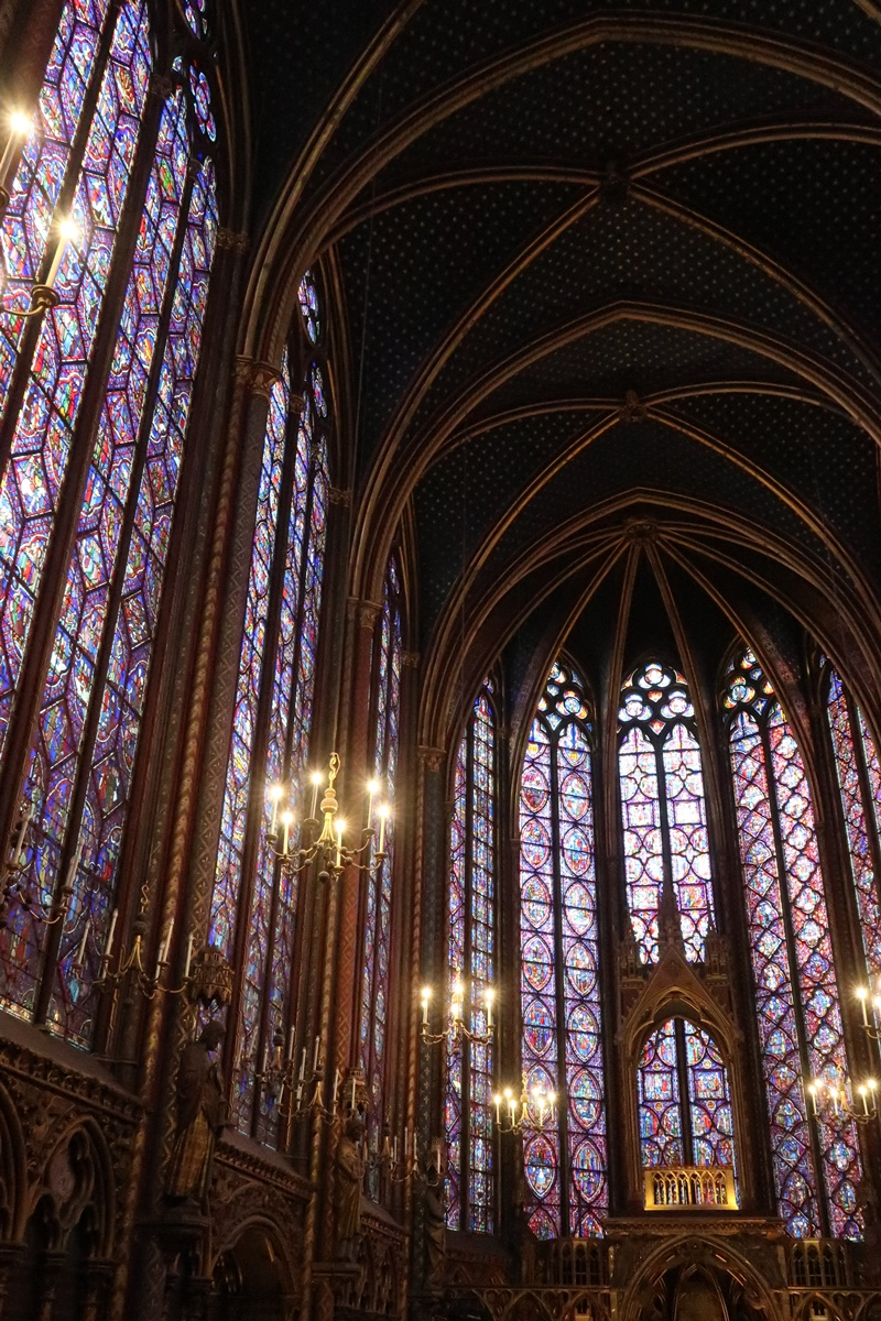 sainte chapelle Paris france stained glass tall window