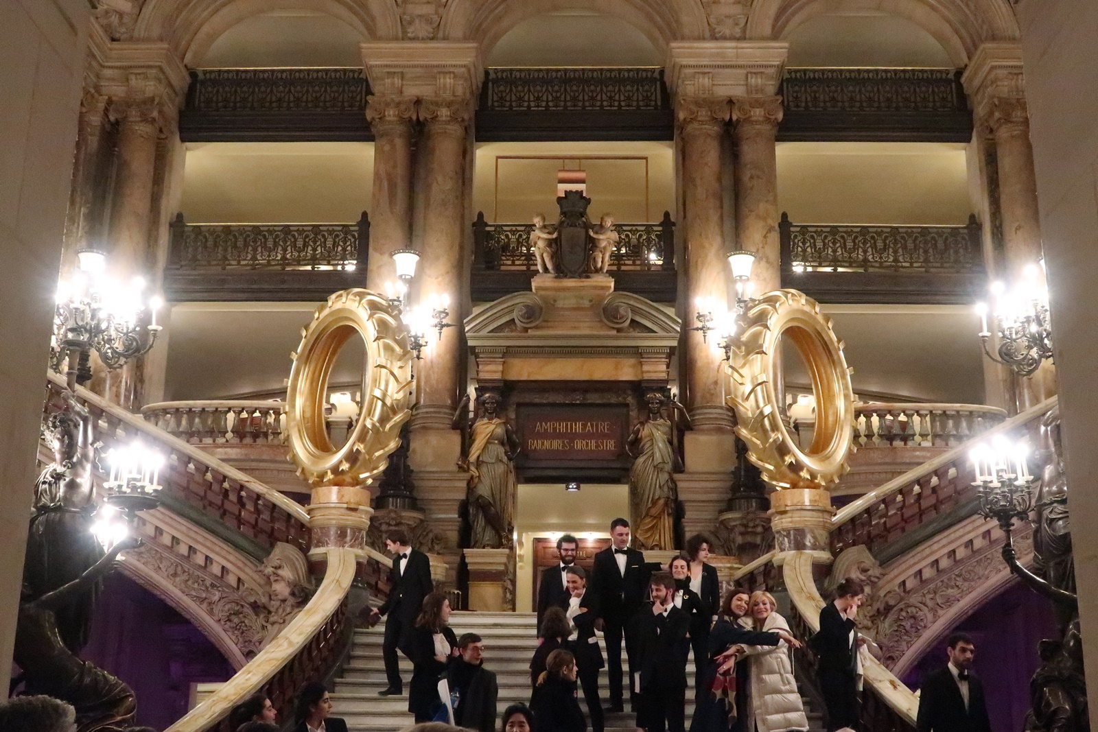 Staircase golden wheel opera palais garnier paris france