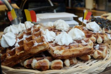 waffles in brussels cream belgian flag