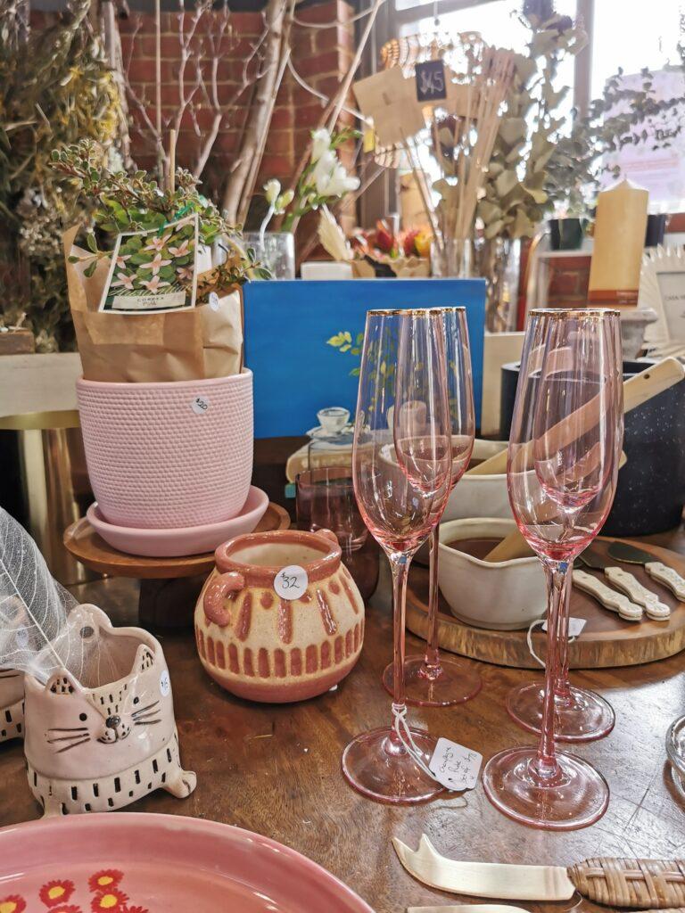glass pottery florist pink